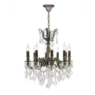 "French Imperial Collection 10 Light Antique Bronze Finish and Clear Crystal Chandelier 22"" x 26"""