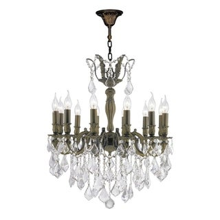 French Imperial Collection 12 Light Antique Bronze Finish and Clear Crystal Chandelier 24 x 27