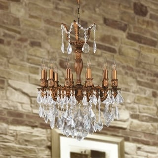 "French Imperial Collection 12 light French Gold Finish and Clear Crystal Chandelier 20"" x 26"""