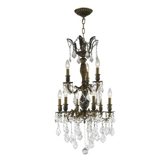 """French Imperial Collection 9 light Antique Bronze Finish and Clear Crystal Chandelier 19"""" x 33"""" Two 2 Tier"""