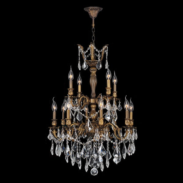 French imperial collection 12 light antique bronze finish and french imperial collection 12 light antique bronze finish and clear crystal chandelier 24 x 34 aloadofball Image collections