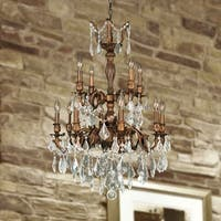 "French Imperial Collection 12 light French Gold Finish and Clear Crystal Chandelier 24"" x 34"" Two 2 Tier"