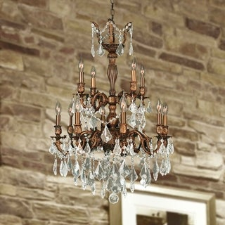 """French Imperial Collection 12 light French Gold Finish and Clear Crystal Chandelier 24"""" x 34"""" Two 2 Tier"""