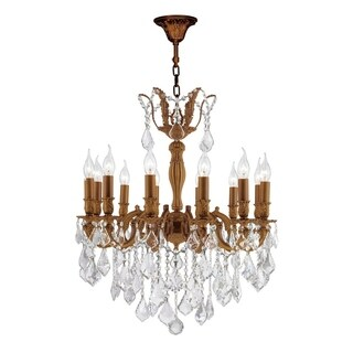 "French Imperial Collection 12 light French Gold Finish and Clear Crystal Chandelier 24"" x 27"""
