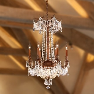 """Regal Estate Collection 9 Light French Gold Finish and Golden Teak Crystal Chandelier 20""""x 29"""""""