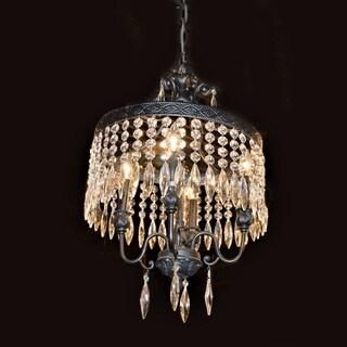 "Antique Charm 4 Light Flemish Brass Finish Crystal Ornate Chandelier 16"" x 22"""