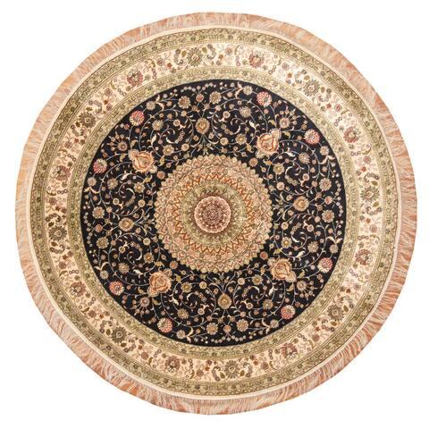 Handmade One-of-a-Kind Kashmiri Silk Rug (India) - 6' x 6'