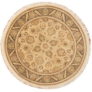 Herat Oriental Pakistani Hand-knotted Vegetable Dye Tabriz Ivory/ Black Wool Round Rug (7' x 7')