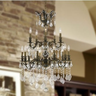 """French Imperial Collection 15 Light Flemish Bronze Finish and Clear Crystal Chandelier 24"""" x 35"""" Two 2 Tier"""