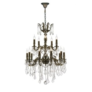 French Imperial Collection 18 light Antique Bronze Finish and Clear Crystal Chandelier 24 x 35 Two