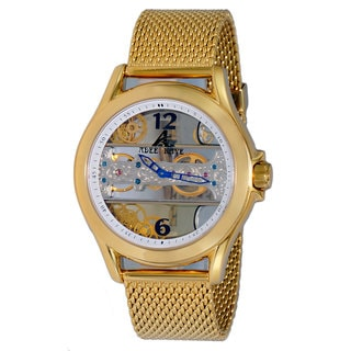 Adee Kaye Men's Goldtone Mesh Bracelet Skeleton Watch