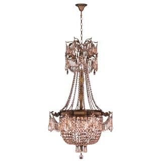 "Regal Estate Collection 4 Light Antique Bronze Finish and Golden Teak Crystal Chandelier 24"" x 40"""