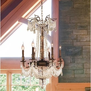 "Regal Estate Collection 9 Light Antique Bronze Finish and Golden Teak Crystal Chandelier 20"" x 29"""