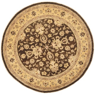 Herat Oriental Afghan Hand-knotted Vegetable Dye Oushak Brown/ Gold Wool Round Rug (8'8 x 8'8)
