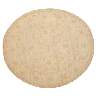 Herat Oriental Afghan Hand-knotted Vegetable Dye Oushak Wool Oval Rug (8' x 9'1)