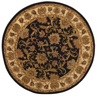 Handmade Herat Oriental Indo Vegetable Dye Mahal Wool Round Rug (India) - 7' x 7'