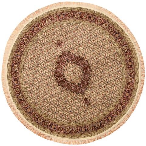 Handmade Herat Oriental Indo Vegetable Dye Tabriz Wool Round Rug - 7' x 7' (India)