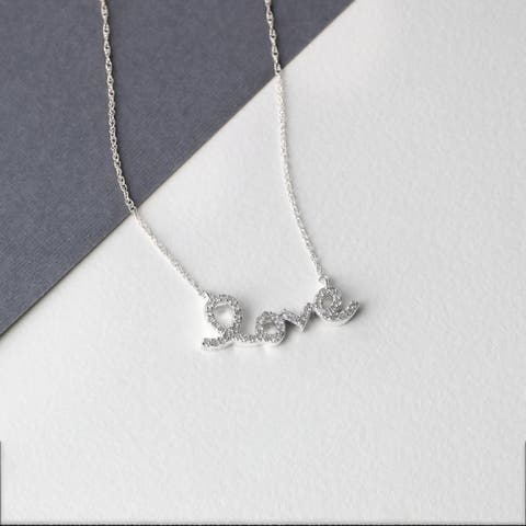 De Couer 10k White Gold 1/6ct TDW Diamond 'Love' Necklace - White H-I