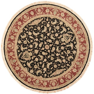 Herat Oriental Indo Hand-knotted Tabriz Black/ Red Wool & Silk Round Rug (8' x 8')