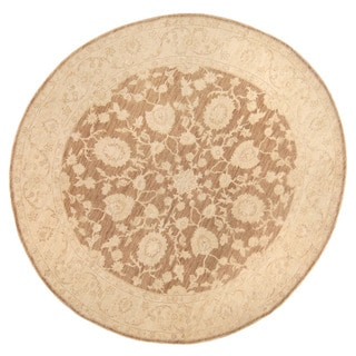 Herat Oriental Afghan Hand-knotted Vegetable Dye Oushak Brown/ Ivory Wool Round Rug (8'5 x 8'5)