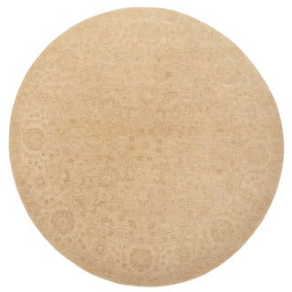 Herat Oriental Afghan Hand-knotted Vegetable Dye Oushak Wool Round Rug (8'2 x 8'2)