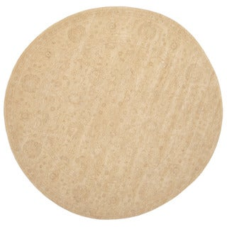 Herat Oriental Afghan Hand-knotted Vegetable Dye Oushak Ivory/ Beige Wool Round Rug (7'10 x 7'10)