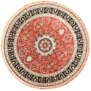 Herat Oriental Indo Hand-knotted Kashmiri Silk Round Rug (8' x 8') - 8' x 8'