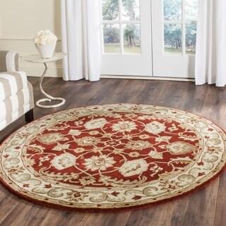 Safavieh Handmade Royalty Red/ Ivory Wool Rug (5' x 5' Round)