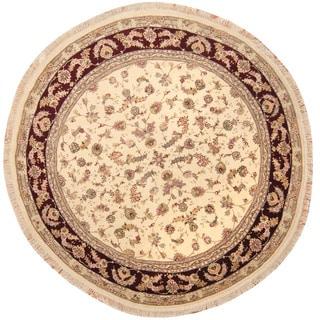 Herat Oriental Indo Hand-knotted Tabriz Wool & Silk Round Rug (8' x 8')