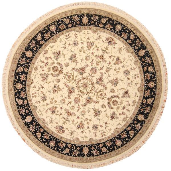 Shop Handmade Herat Oriental Indo Tabriz Wool & Silk Round