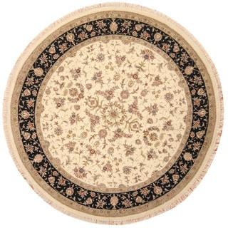 Herat Oriental Indo Hand-knotted Tabriz Ivory/ Black Wool & Silk Round Rug (8' x 8')