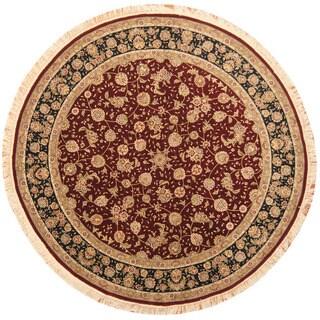 Herat Oriental Indo Hand-knotted Tabriz Burgundy/ Black Wool & Silk Round Rug (8' x 8')