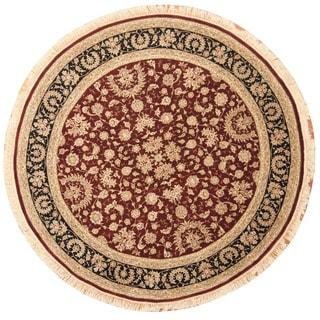 Herat Oriental Indo Hand-knotted Tabriz Burgundy/ Navy Wool & Silk Round Rug (8' x 8')