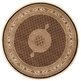 Herat Oriental Indo Hand-knotted Tabriz Wool & Silk Round Rug (8'3 x 8'3)
