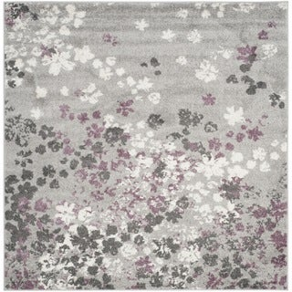 Safavieh Adirondack Vintage Floral Light Grey / Purple Rug (6' Square)