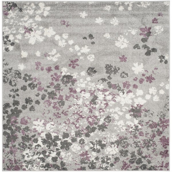 Charming Safavieh Adirondack Vintage Floral Light Grey / Purple Rug (6u0027 Square)