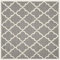 Safavieh Handmade Moroccan Cambridge Dark Grey/ Ivory Wool Rug - 6' x 6' Square