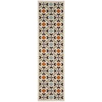 Safavieh Indoor/ Outdoor Veranda Cream/ Terracotta Rug - 2'3 x 8'