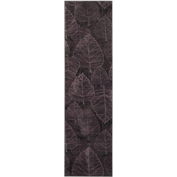 Safavieh Vintage Charcoal/ Multi Botanical Distressed Silky Viscose Rug (2'2 x 8')