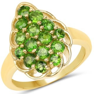 Malaika 14k Yellow Goldplated Sterling Silver 1 3/4ct Chrome Diopside Ring