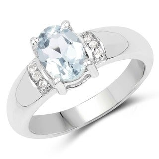 Malaika Sterling Silver 1 3/5ct Aquamarine and White Topaz Ring