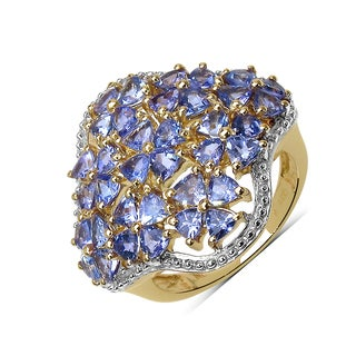 Olivia Leone 14k Yellow Goldplated Sterling Silver 3 5/8ct Tanzanite Ring