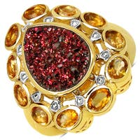 Malaika Yellow Goldplated Sterling Silver 5 1/6Ct Red Druzy And Citrine Ring