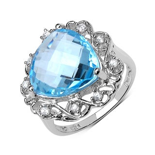 Olivia Leone Sterling Silver 11ct Blue Topaz and White Zircon Ring