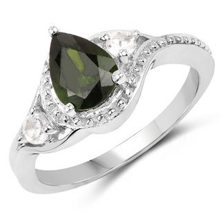 Olivia Leone Sterling Silver 1 1/3ct Chrome Diopside and White Topaz Ring