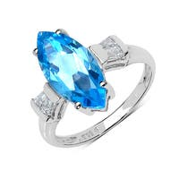 Malaika Sterling Silver 3 7/8ct Swiss Blue and White Topaz Ring