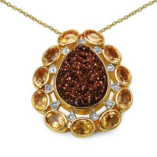 Malaika 14k Yellow Goldplated Sterling Silver 5 1/6ct Red Druzy and Citrine Pendant