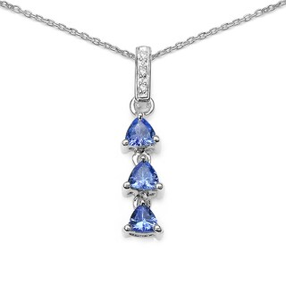 Olivia Leone Sterling Silver 4/5ct Tanzanite and White Topaz Pendant