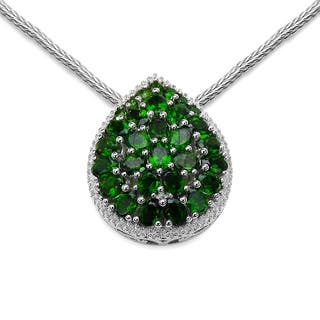 Diopside necklaces for less overstock olivia leone sterling silver 4 58ct chrome diopside pendant aloadofball Images