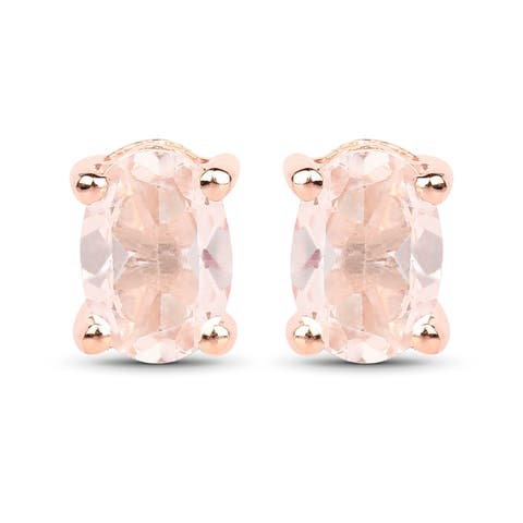 Malaika Rose Goldplated Sterling Silver 7/8ct Morganite Earrings